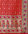 Crimson red handloom silk banarasi saree