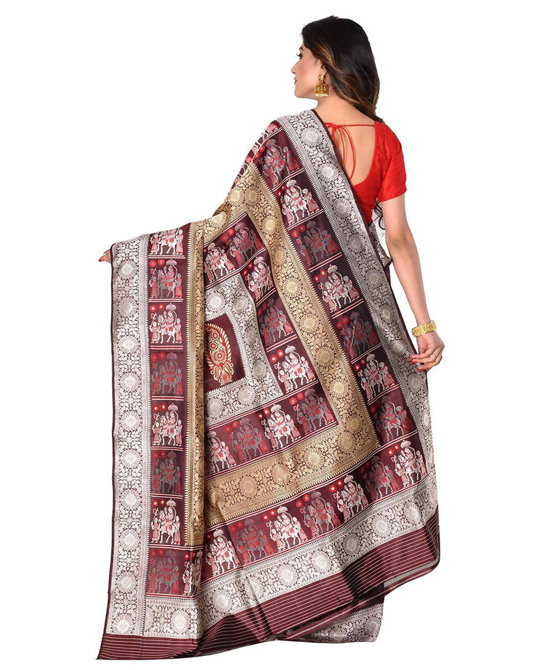 Bengal handloom brown baluchari silk saree