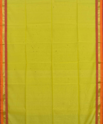 Handloom Yellow Maheshwari Cotton Silk Saree
