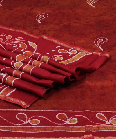 Red Orange Maheshwari Batik Hand Print Saree