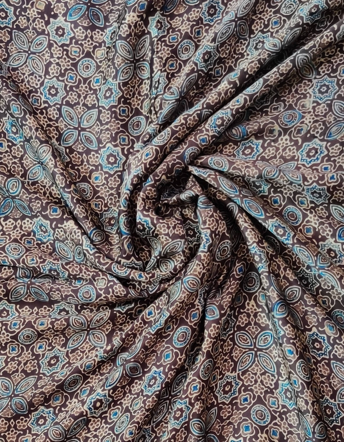 Brown ajrakh print modal silk fabric