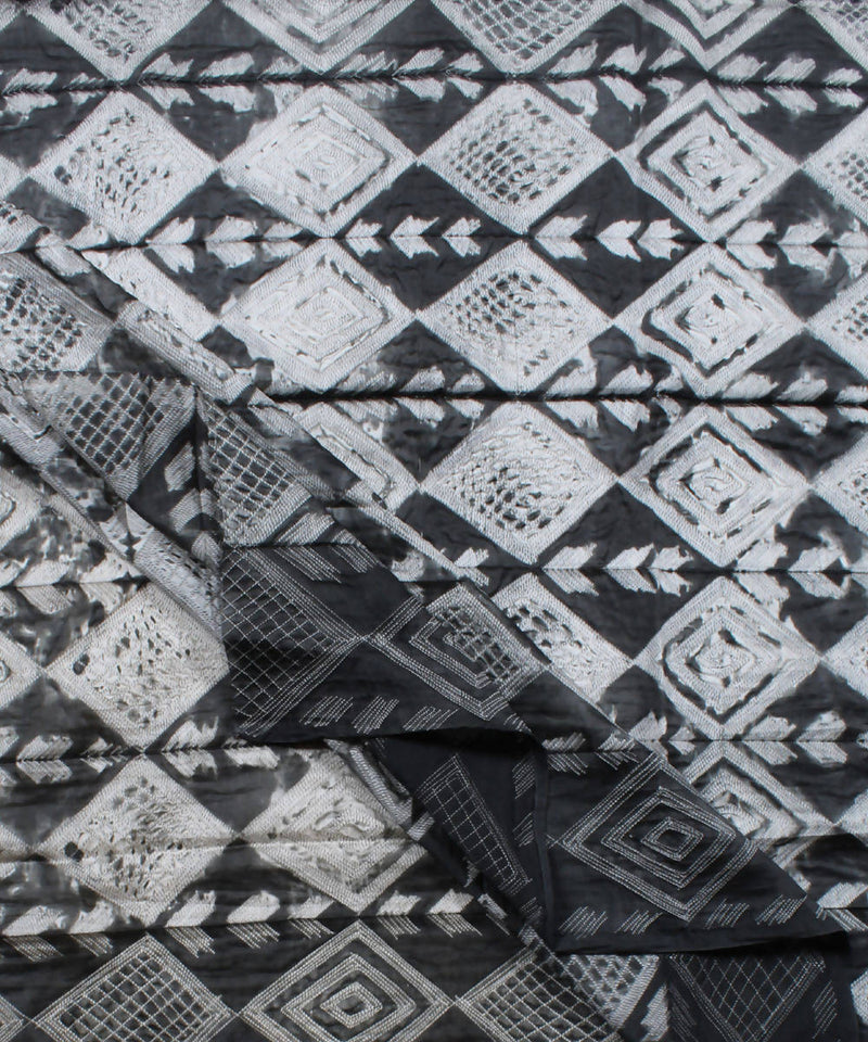 Shibori Chanderi Charcoal Grey Kurta Fabric
