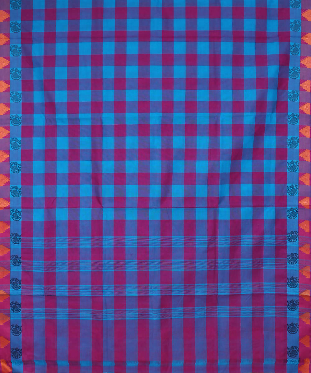 Magenta Blue Handloom Cotton saree