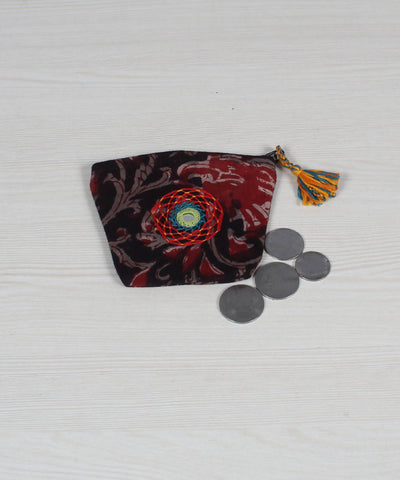 Lambani Embroidery Coin Pouch in Black Red