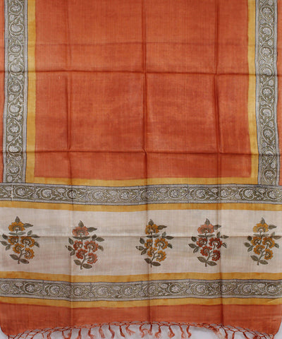 Orange Handloom Tussar Silk Dupatta