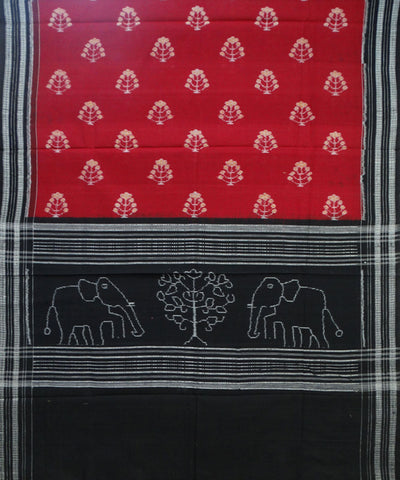 Exclusive Traditional Maroon And Black Sambalpuri Ikat tie And dye Cotton Dupatta