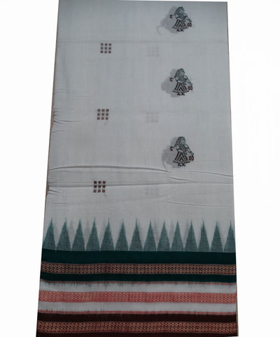 Exclusive  White Bottle Green And French Puce Doll Bomkai  tie And dye Sonepur ikat cotton Saree