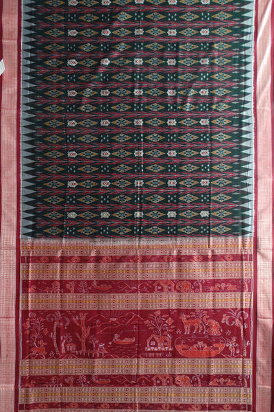 Rich Dark Green And Carmine Nature Design Anchal Bomkai tie And dye Sonepur ikat cotton Saree