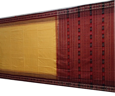 Exclusive  Dark Yellow And Maroon Traditional tie And dye Sonepur ikat cotton Saree