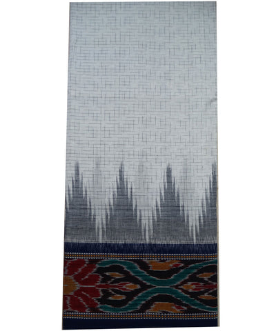 Exclusive White And Ink Blue Jharana Design Tie And Die Cotton Saree