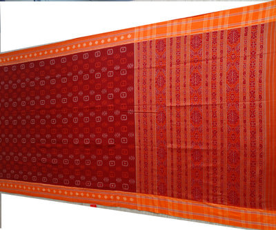Exclusive Maroon And Burnt Orange Traditional Design Tie And Die Cotton Saree