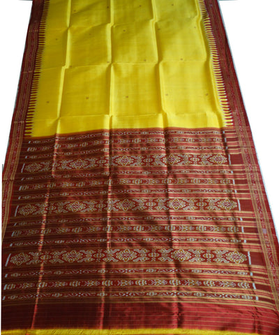 Exclusive Bright Yellow And Maroon  Traditional Khandua silk Saree
