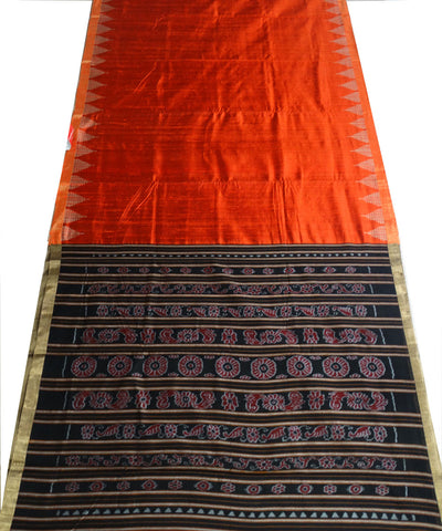 Shiny Coquelicot And Black Traditional Ikat tie And dye Tussar Silk Saree