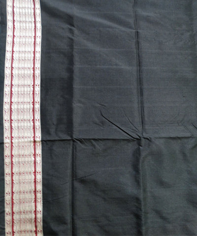 Unique Dark CyanBlack And Claret Traditional Fish Motifs Handwoven Silk Saree