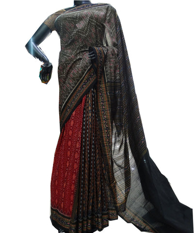 Delicate Designer Field DrabMaroon And Black Traditional  tie And dye Sambalpuri ikat cotton Saree