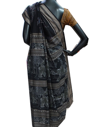 Delicate Designer Royal Elephant And Tree with Black tie And dye Sambalpuri ikat cotton Saree
