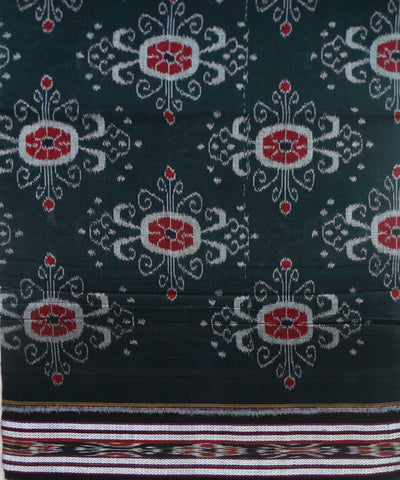 Exclusive Bottle Green And Black Traditional Design Tie And Die Cotton Saree