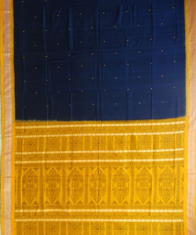 Exclusive Navy Blue And Orange Bomkai tie And dye Sonepuri ikat cotton Saree