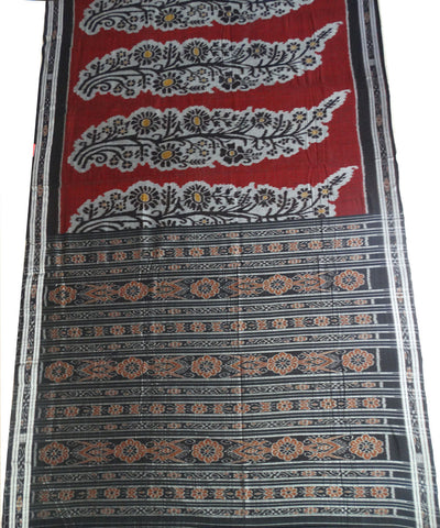 Exclusive Maroon And Black Traditional Design Tie And Die Cotton Saree