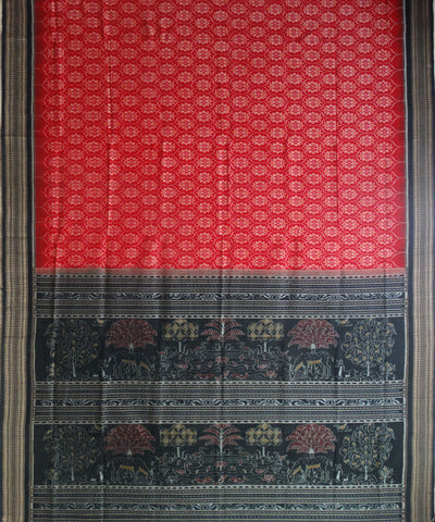Red Black Sambalpuri ikat cotton Saree