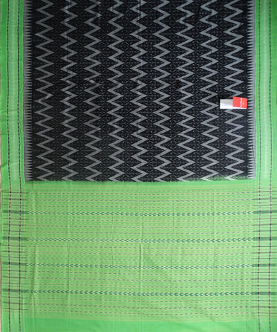 Unique BlackDark Medium Gray And Electric Green Traditional  tie And dye Sambalpuri ikat cotton Saree