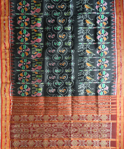 Exclusive Black And Maroon Elephant And Horse Design Traditional Khandua silk Saree