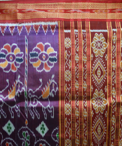 Exclusive Dark Eminence And Maroon Elephant And Horse Design Traditional Khandua silk Saree