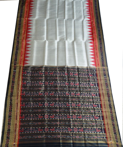 Exclusive Off White Black And Maroon Sachipar Traditional Ikat Khandua silk Saree