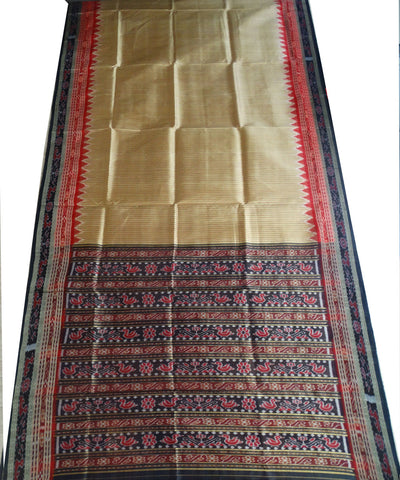 Exclusive Dark Golden Rod Black And Maroon Sachipar Traditional Ikat Khandua silk Saree