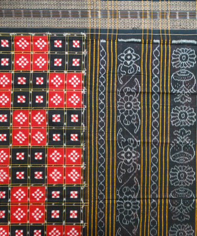 Exclusive Black And Dark Red Traditional Pasapali tie And dye Sambalpuri ikat cotton Saree