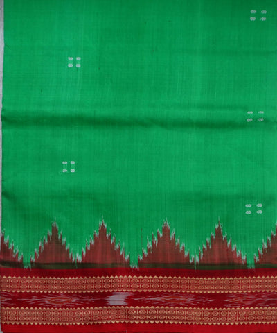 Exclusive Electric Green And Maroon Traditional Ikat Khandua silk Saree
