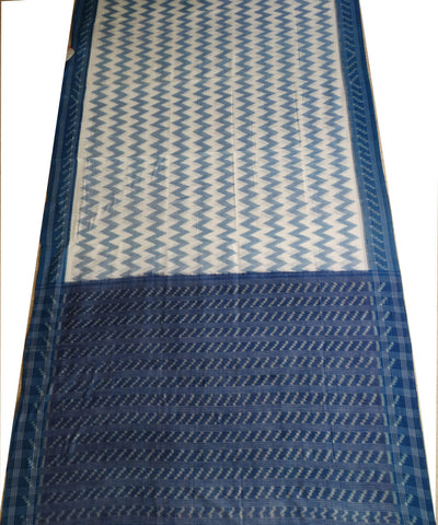 Exclusive White And Denim new Traditional Design Tie And Die Cotton Saree