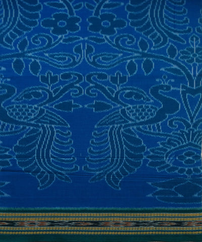 Exclusive French Blue And Deep Jungle Green Peacock Design Tie And Die Cotton Saree