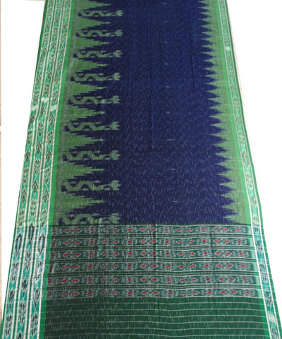 Exclusive Ink Blue And Bottle Green Jharana Design Tie And Die Cotton Saree