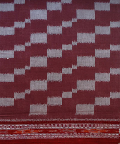 Exclusive Deep Taupe And Maroon Traditional Ikat Tie And Die Cotton Saree