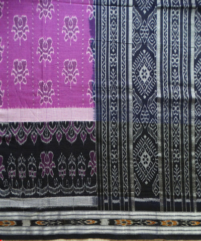 Exclusive Dark Orchid And Black Traditional Rose Ikat Tie And Die Cotton Saree