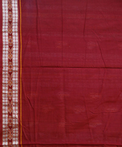 Exclusive Dark Blue And Maroon Bomkai tie And dye Sonepuri ikat cotton Saree