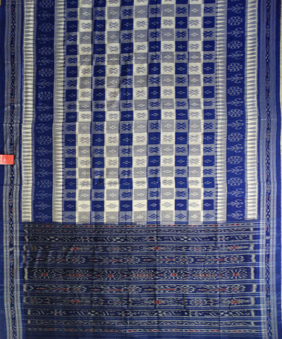 Exclusive Cream And Dark Powder Blue Traditional Ikat Tie And Die Cotton Saree