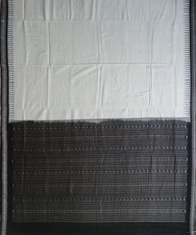 White Black Sambalpuri ikat cotton Saree