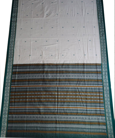 White Bottle Green Hawaspuri cotton Saree