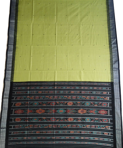 Exclusive Fluorescent Yellow And Black Traditional Ikat Tie And Die Cotton Saree