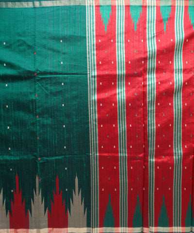 Exclusive Bottle Green And Golden Phoda kumbha Handwoven Traditional Tussar Saree