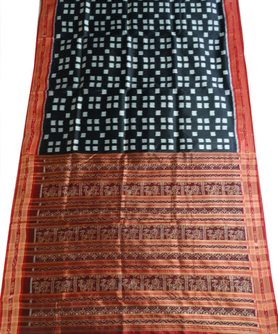 Exclusive Black And Maroon Box Ikat Khandua silk Saree
