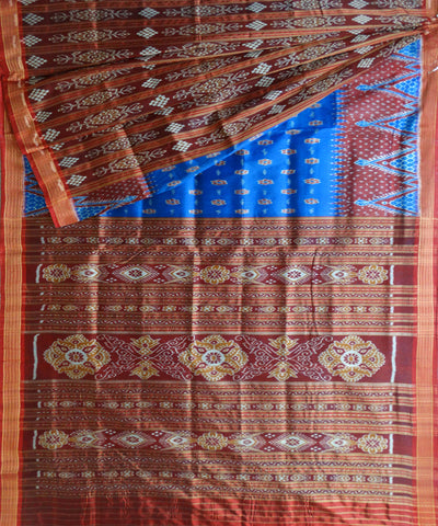 Exclusive Bluebonnet And Maroon Patli Traditional Ikat Khandua silk Saree