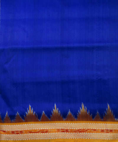 Exclusive Electric Ultramarine And Dark Yellow Traditional Ikat Khandua silk Saree