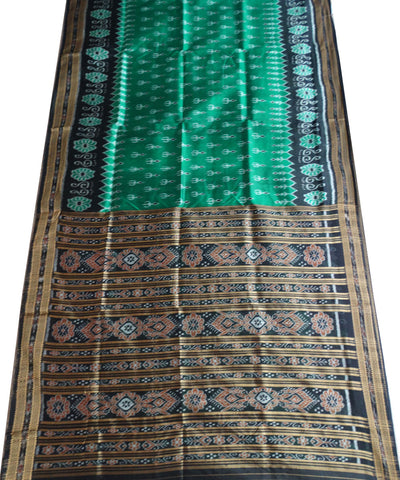 Exclusive Bottle Green And Black Traditional Ikat Khandua silk Saree