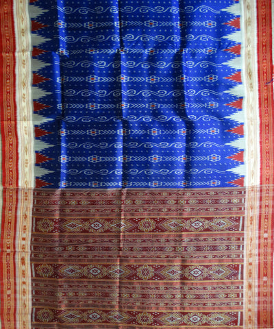 Exclusive Electric Indigo Dark Red And Cream Traditional Ikat Khandua silk Saree