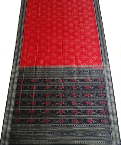 Red Black Ikat Sambalpuri ikat cotton Saree