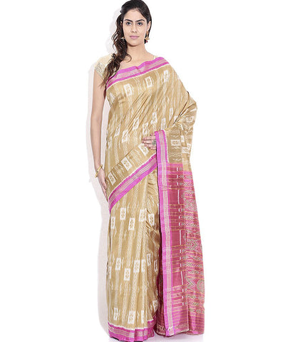 Ecru Fashion Fuchsia Ikat Khandua silk Saree