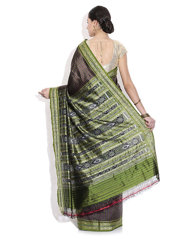 Exclusive Dark Moss Green And Magenta Traditional Ikat Khandua silk Saree